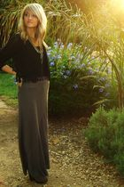 brown clogs - black shirt - gray skirt - black vest - gold necklace