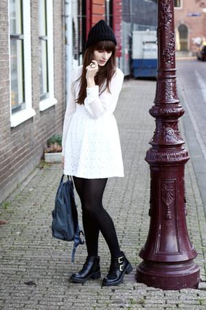 white dress - black asos boots - teal fjallraven bag