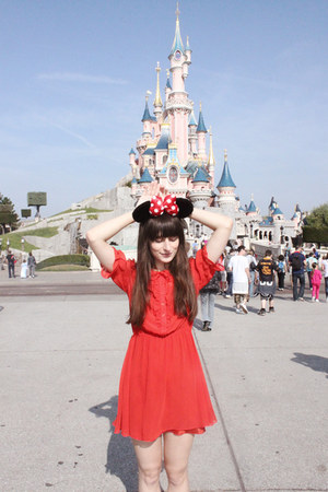 red altered H&amp;M dress - black Minnie Mouse accessories