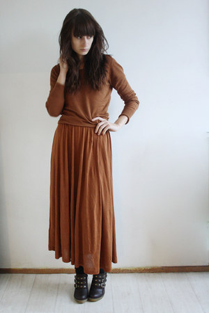 burnt orange Monki dress - burnt orange Bershka sweater