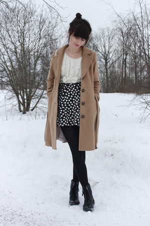 camel H&amp;M coat - H&amp;M skirt - H&amp;M cardigan
