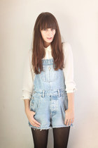 sky blue denim Secondhand romper - white H&M blouse