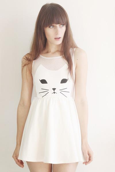 white cat romwe dress