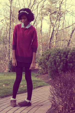 magenta H&amp;M sweater - dark brown DSW boots - white DIY hat - black delias tights