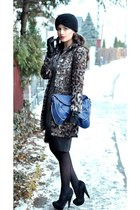 leopard print Zara coat - Orsay dress - turban asos hat - blue reserved bag