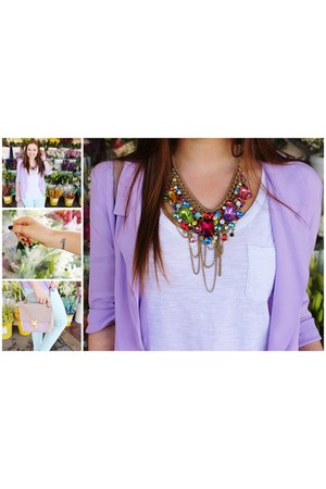 Forever New necklace - light blue Dotti jeans - light purple cotton on blazer