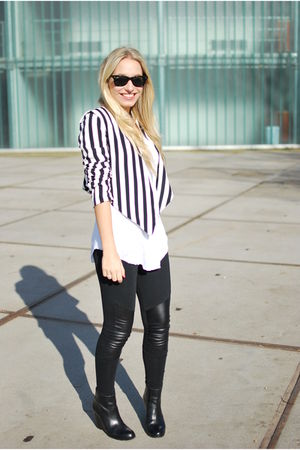 white striped H&amp;M jacket - black minimarket boots - black panel H&amp;M leggings
