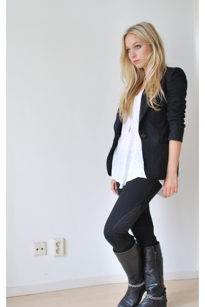 h&amp;m pink label leggings - Zara t-shirt - H&amp;M blazer - Mexx accessories - selfmad