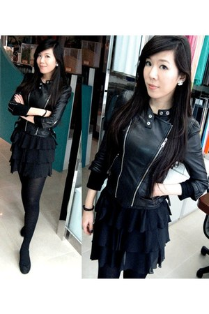 black leather jacket D-Mop jacket - black ballet flats Repetto flats - black sil