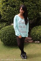 black studded Forever 21 shoes - mint green Forever 21 sweater