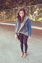 teal jacket - brown boots - heather gray tights