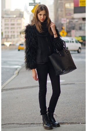 black coat - black bag