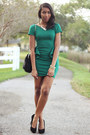 Green-peplum-zara-dress-black-faux-fur-aldo-bag-black-steve-madden-pumps