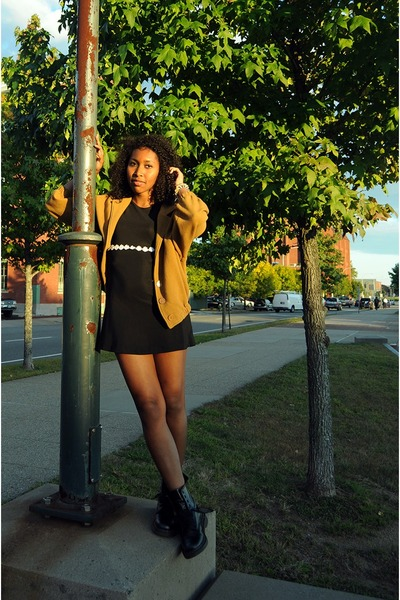 black 90s babydoll thrifted dress - black 1460 doc martens boots