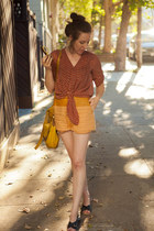 leather-linen Shakuhachi shorts - wedges Worishofer shoes