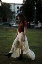 maxi free people dress - ankle Frye boots - graphic Zara t-shirt