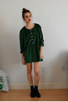 green dress - black combat boots