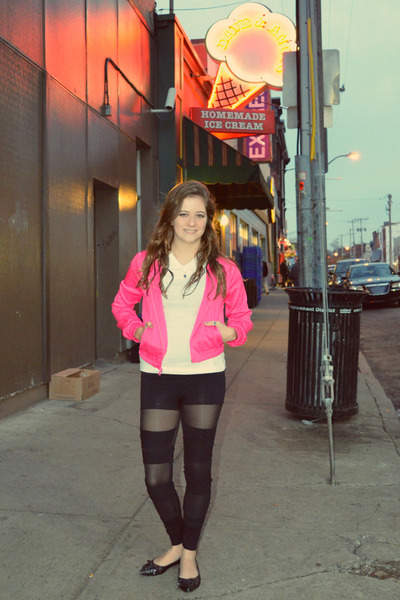 cutouts DIY leggings - hot pink Charlotte Russe jacket - black tights tights