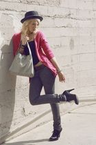 gray moussy jeans - pink moussy cardigan - black govil top - gray SLY purse