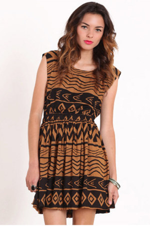 brown mink pink aztec dress
