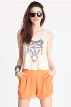 orange cutout shorts