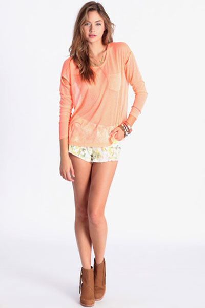 orange Far-Fetched Knit Top in Neon Orange shirt