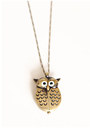 Bronze Owl Clock Necklaces