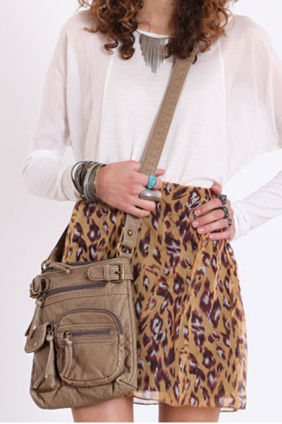 light brown cross-body bag