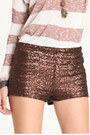 Brown-sequin-shorts