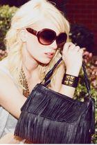 black moussy purse - gold govil bracelet - gold govil necklace - purple SLY sung