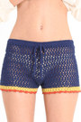 Navy Crochet Shorts