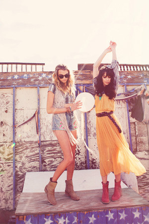 mustard dress - light blue shorts - black top - beige vest - blue top