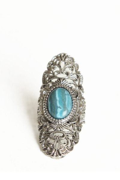 turquoise blue pewter ring