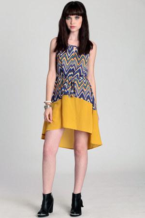 mustard high-low dress