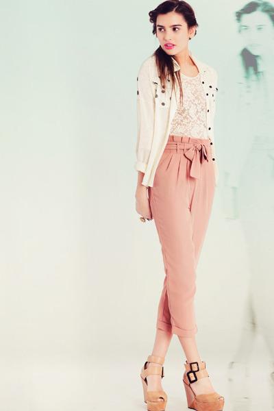 nude pants - tan wedges - ivory top - ivory blouse - pink bracelet