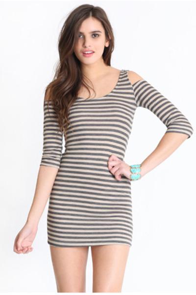 heather gray striped dress