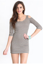 heather gray striped dress