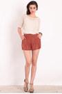 Burnt Orange Pleated Shorts