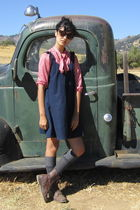 red vintage shirt - blue Old Navy dress - gray socks - brown Target boots
