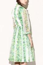 Green Floral Vintage Dresses
