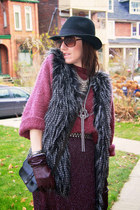 fur winners vest - lurex Thrift Store dress - felt H&M hat