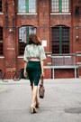 Dark-green-pencil-skirt-thrift-store-skirt-ivory-peep-toe-payless-pumps