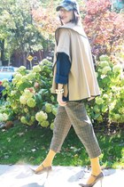 plaid H&M hat - navy shaker knit Thrift Store sweater - mustard H&M tights