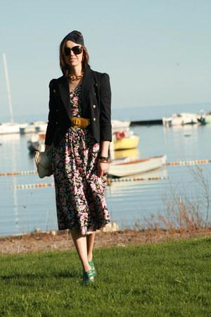 floral dress vintage dress - navy vintage hat - nautical Guess blazer - waist be