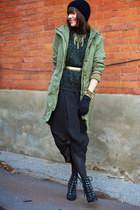 olive green army H&M jacket - black sheer Thrift Store dress