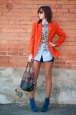 carrot orange cashmere Thrift Store blazer - beige animal print H&amp;M sweater