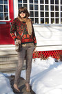 Burnt-orange-fair-isle-thrifted-sweater-brown-cross-body-coach-purse