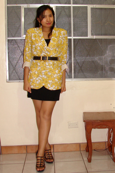 Mums blazer - vintage belt - nighties dress - Syrup shoes
