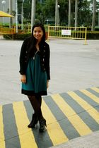 black Charles & Keith boots - green prp dress - black thrift jacket