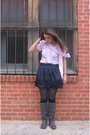 Pink-blouse-blue-forever21-skirt-gray-amazon-boots-black